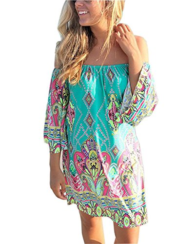 Women's Tropical Off Shoulder Strapless Bohemia Paisley Printing Top Beach Dress (US 4-6=Tag XL, Multi-Green)