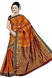 Pawan Tex kancheevaram silk sree for women's (silk11_mustard yellow)