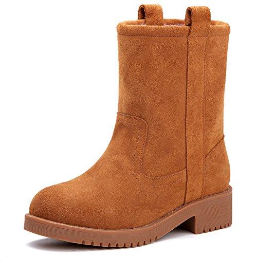 Bottes d'hiver au Royaume-Uni/Épais avec des bottes de Martin/Cuir bottines/Plat bottes avec tête ronde
