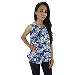 ShopMore Printed Top(Medium,Blue)