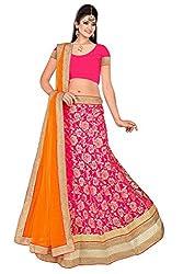 Pushty Fashion Pink and Orange Brasso Lehnga