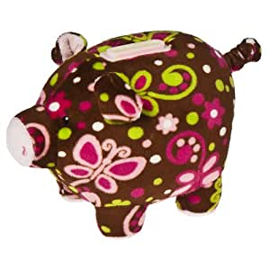 Mary Meyer Print Pizzazz Piggy Bank Flutter Design 6""