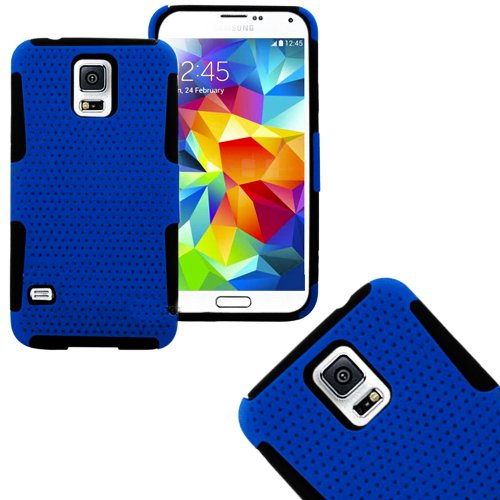 Mylife (Tm) Deep Blue And Classic Black - Perforated Mesh Series (2 Layer Neo Hybrid) Slim Armor Case For The New Galaxy S5 (5G) Smartphone By Samsung (External Rubberized Hard Shell Mesh Piece + Internal Soft Silicone Flexible Gel + Lifetime Warranty + S