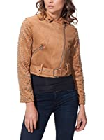 SELFIE 22 Chaqueta Suede Biker With Waist Belt Tacks (Camel)