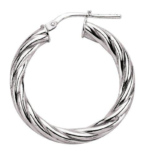 Jewelco London Silver - anti tarnish plated - 4mm Twist Hoop Earrings