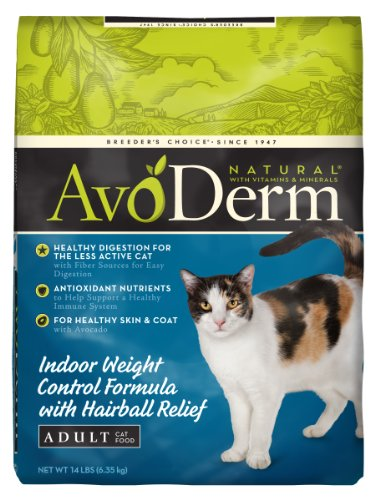 See AvoDerm Natural Indoor Weight Control Formula with Hairball Relief Adult Cat Food, 14-Pound
