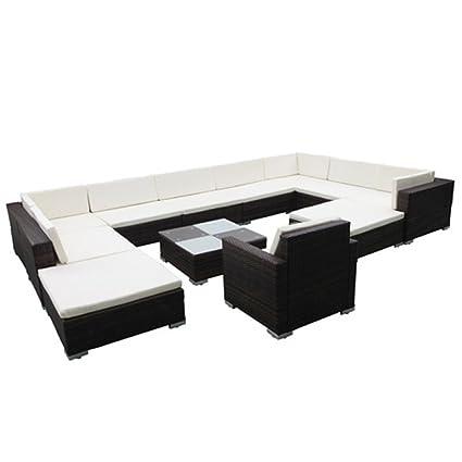 vidaXL 35tlg. Poly Rattan Gartenmöbel Lounge Sitzgruppe Sitzgarnitur Gartenset