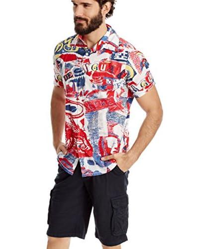 Desigual Camicia Uomo [Bianco/Rosso/Blu]