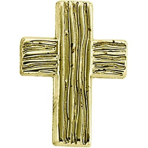 14K Yellow Gold Rugged Cross Pin