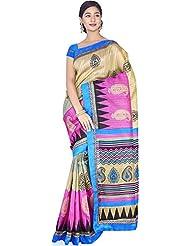 Aadarshini Women's Raw Silk Saree (110000000450, Beige & Pink)