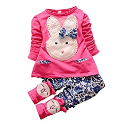 Baby Girls\' 2pcs Kids Knit Bunny Top Leggings Clothing Set Outfits(XL,Rose)