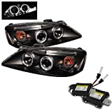 Carpart4u 6000K Xenon HID Performance Headlights Package for Pontiac G6 2/4DR Halo LED ( Replaceable LEDs ) Black Projector Headlights
