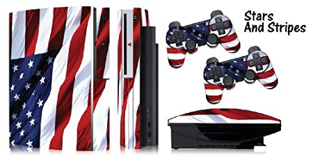 Protective skins for FAT Playstation 3 System Console, PS3 Controller skin included - STARS N STRIPES (USA)