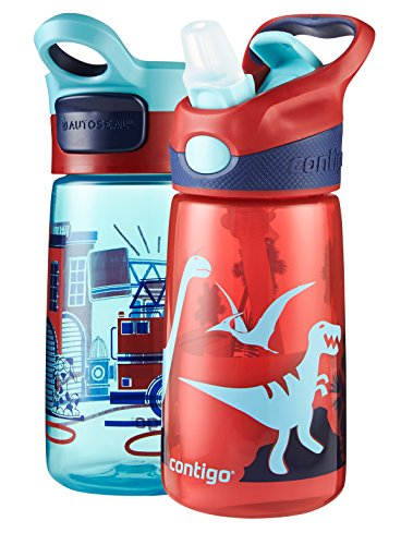 Contigo Striker/Gracie Kids Water Bottle, 14-Ounce, Pacific Fire Truck And Cardinal Dino, 2-Pack front-215458