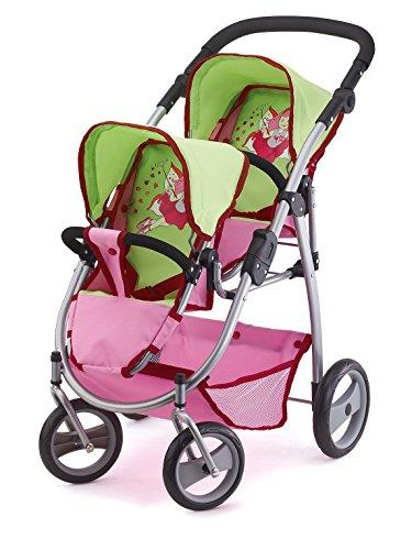 2654500 - Zwillingspuppenwagen Puppen, 46 cm, rosa/grün