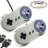 BRHE 2 Pack Game Controller for Nintendo SNES Classic Mini Edition Console, Super NES Wired Gamapad Retro Style Joystick 2017