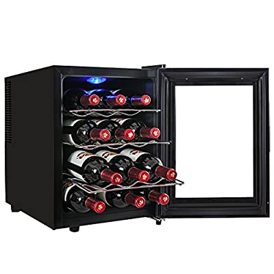 AKDY® 12 Bottle Single Zone Thermoelectric Stainless Steel Freestanding Wine Cooler Cellar Chiller Refrigerator Fridge Quiet Operation