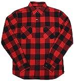 メンズ シャツ 長袖 ブロックチェック ワークシャツ 76802 (38(M), レッド)