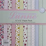 Assorted 12x12 Lunne Double Sided Paper Pack - Floral Pack (Set Of 30 Sheets)