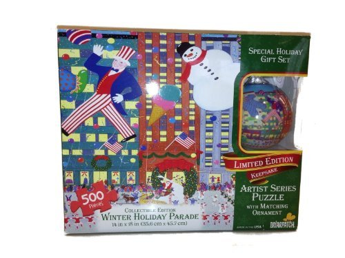 Winter Holiday Parade 500 Piece Limited Edition Keepsake Artist Series Puzzle with Matching Christmas Ornament Gift Set - 1