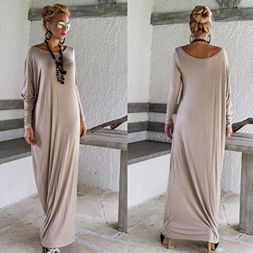 STRONGCLOUD Beautiful Fashionable Popular Fresh Attractive Casual Long Sleeve Maxi Dresses For Women Light Gray-XL