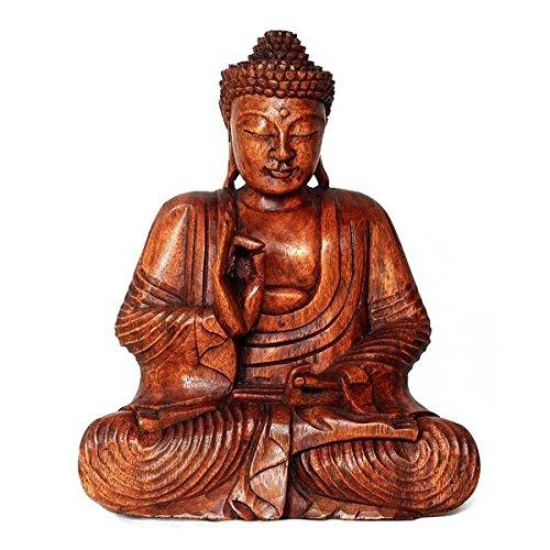 lestarie buddha figur handgefertigt aus holz h he 30cm. Black Bedroom Furniture Sets. Home Design Ideas