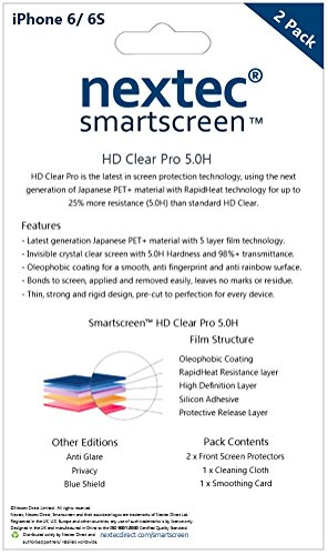 iPhone 6 Screen Protector, (2 Pack) Nextec® iPhone 6 Screen Protector for Apple iPhone 6S/ 6 (HD Clear Pro 5.0H) PET Film - Premium Pack