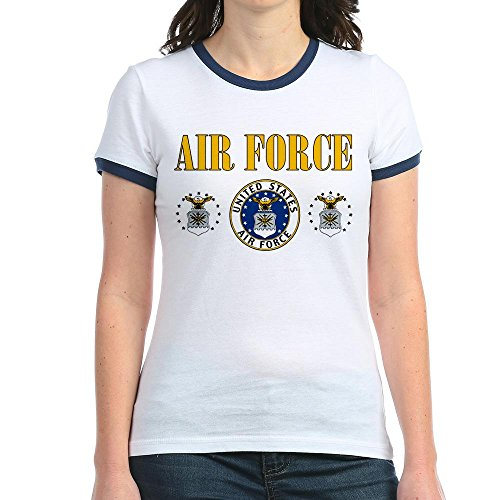 Royal Lion Jr. Ringer T-Shirt United States Air Force Military Seal - Navy/White, Large