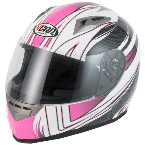 V-CAN V158 WIND PINK HELMET Motorbike Motorcycle Full Face Crash ACU Approved Helmet (S)