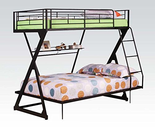 Acme 37142 Sandy Black Finish Twin/Full Bunk Bed w/Bookshelf