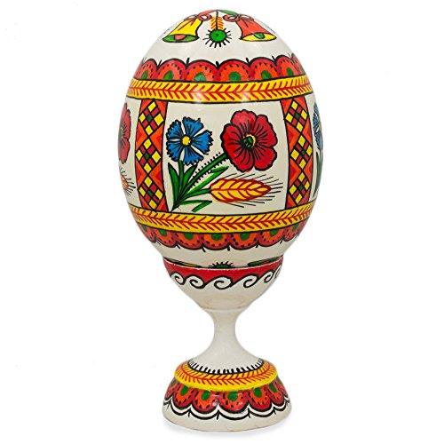 9,5cm Fleurs et cloches ukrainien œufs de Pâques en bois pysanky avec support