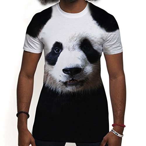 All Over Print Sublimation T Shirt Graphic Tees Mens Panda Face 3D T-Shirts - M