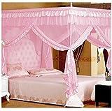 Smart-Fun-4-Ecke-einem-Baldachin-Moskitonetz-Betthimmel-Mckenschutz-Romantik-im-Haus-Single-Doppelbett-Betten-Zubehr-Kein-Rahmen-Rosa-Doppelte-Breite-15m