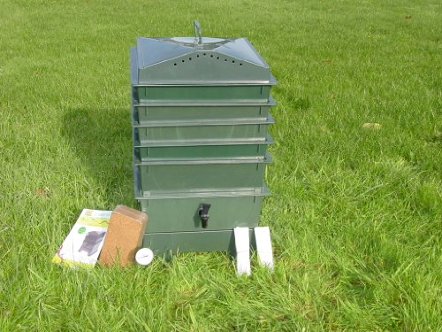 5-Tray Worm Compost Bin With Free Thermometer-Dark Green front-950114