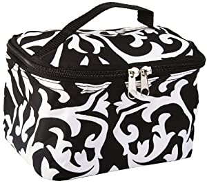 Amazon.com: Cute! Cosmetic Makeup Bag Case Damask Print Black White Small: Beauty