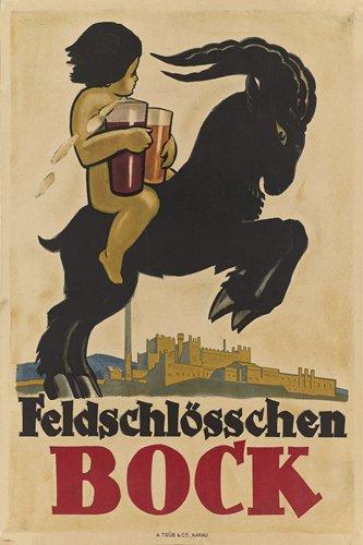 feldschlosschen-bock-vintage-ad-poster-switzerland-24x36-beer-collectors-new