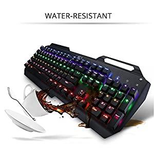 VicTop Mechanical Gaming Keyboard 104-Key Waterproof Anti-ghosting Game Keyboard with Blue Switches and Multi-Color Backlight for Gamers or Typists - Key Cap Puller Fit Included