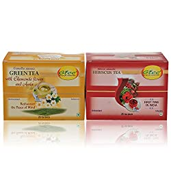 GTEE Green Tea Bags-Chamomile & Hibiscus Tea Bags (25 Tea bags X 2PACKS)