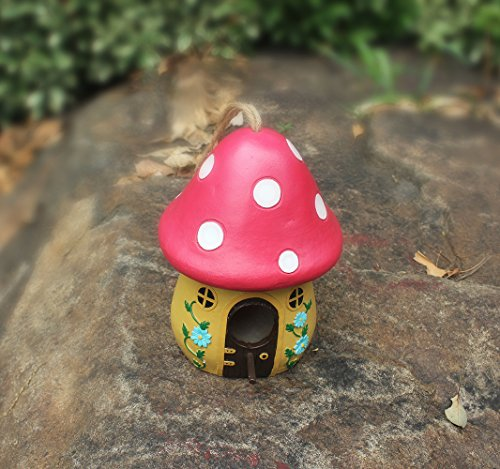 wilbbird-care-pet-supplies-resin-mushroom-bird-house-apricot-red