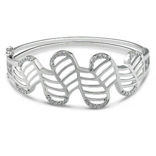 Sterling Silver 1 1/3 CT TGW Cubic Zirconia Bangle Bracelet