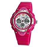 Pasnew High Water-Proof Quality 100m Dual Time Unisex Enfant Outdoor Sport Watch Rose