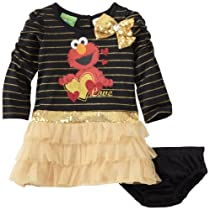 Sesame Street Baby-girls Infant 2 Piece Elmo Love Dress Set, Black, 24 Months