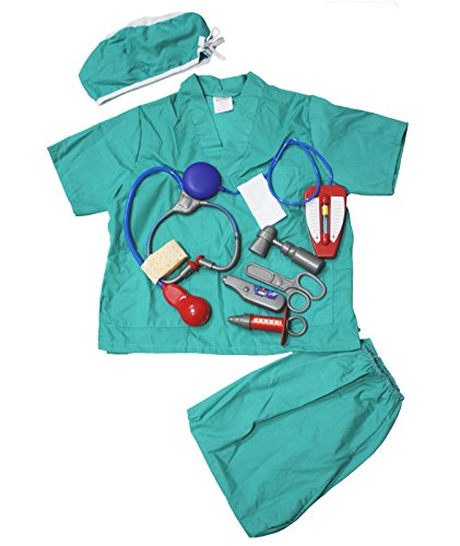 Aqua Blue Nurse Doctor Surgery Occupational Children Costume Party Clothing 3-7y