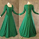 Green and Gold Fleur De Lis Medieval Renaissance Gown Dress Costume LOTR Wedding Large by Artemisia Designs
