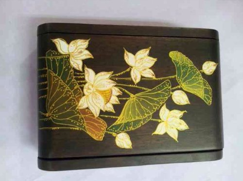 lotus cool christmas gifts decorative wooden jewelry storage box or organizer handmade from teak with brass