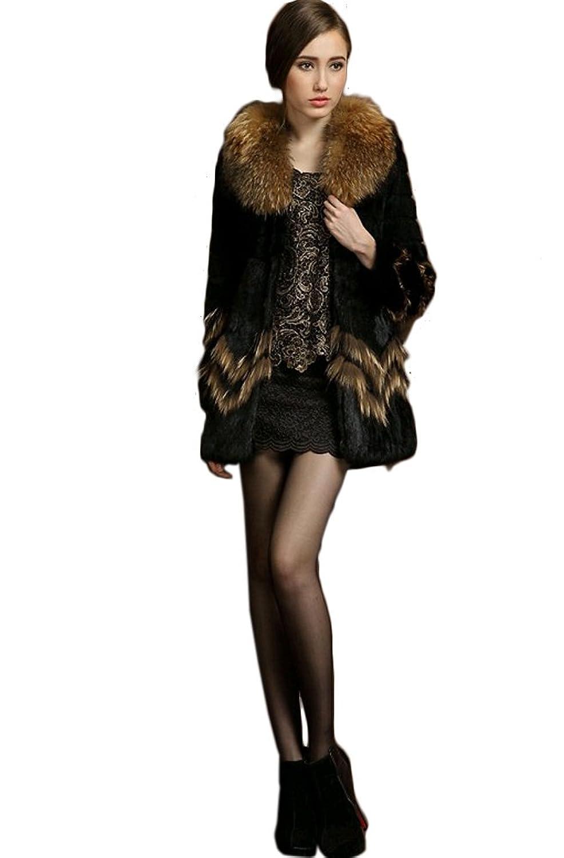 Queenshiny Damen 100% Echte Kaninchen Pelz Lange Mantel Jacken Mit Waschbär Pelz Kragen Winter Mode bestellen
