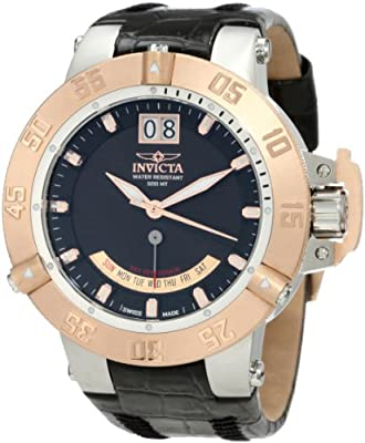 Invicta Men's 1575 Subaqua Noma III Black Dial Black Leather Watch by Invicta