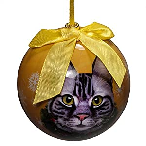 E&S Pets Tabby Silver Cat Christmas Shatterproof Ornament