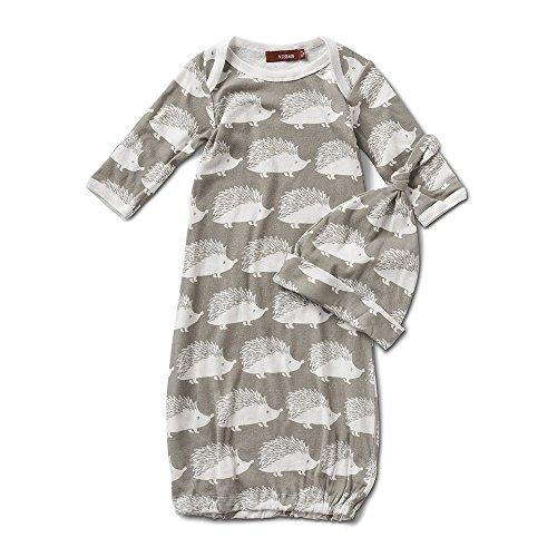Milkbarn Newborn Gown and Hat Set - Gray Hedgehog Gown Hat