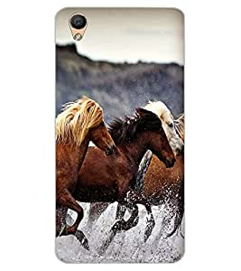 ColourCraft Amazing Horses Design Back Case Cover for OPPO F1 PLUS